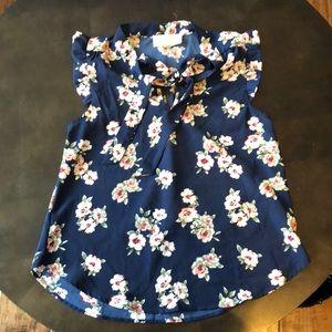 Dark blue capped sleeve blouse